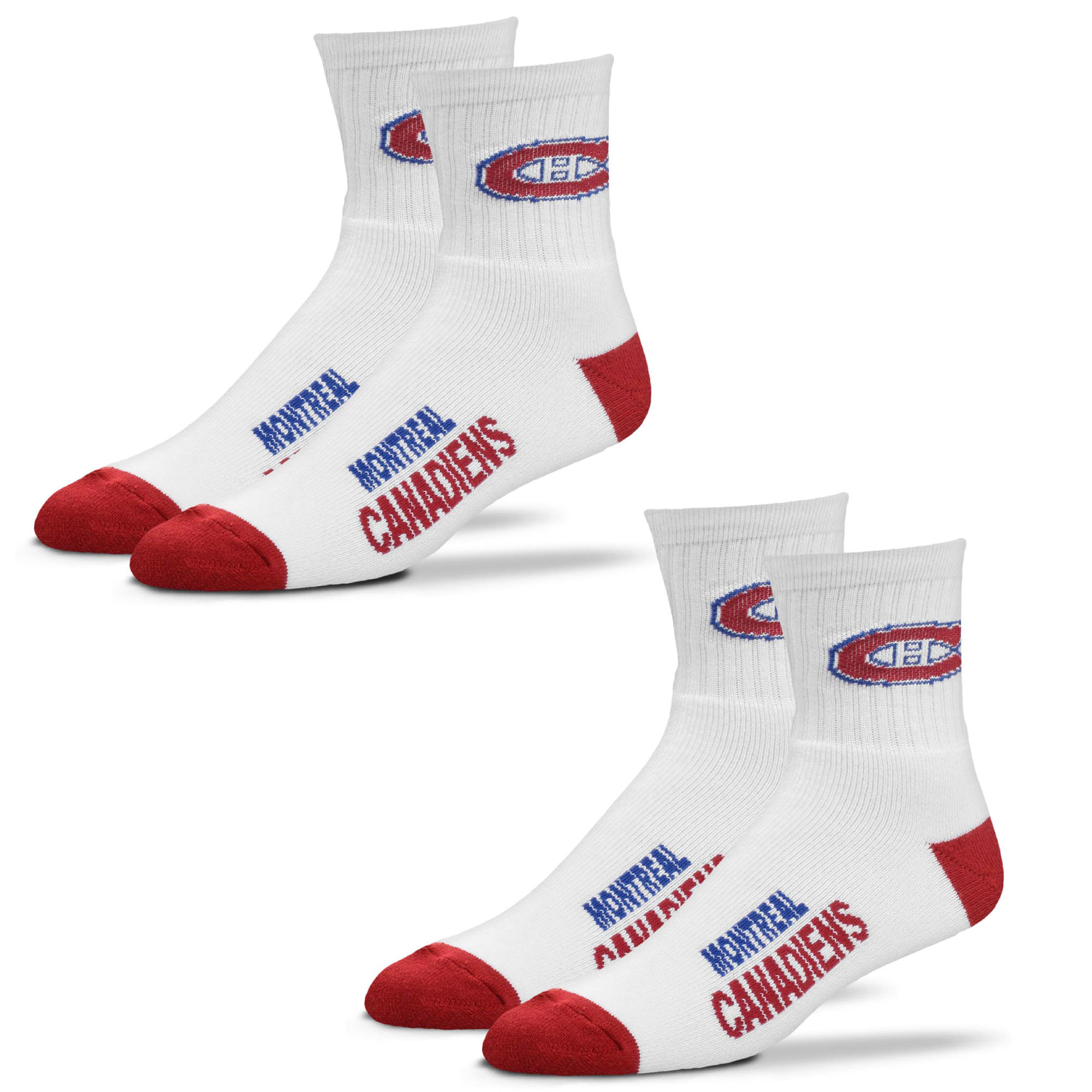 Montreal Canadiens For Bare Feet Women's 2-Pack Quarter-Length Socks - M