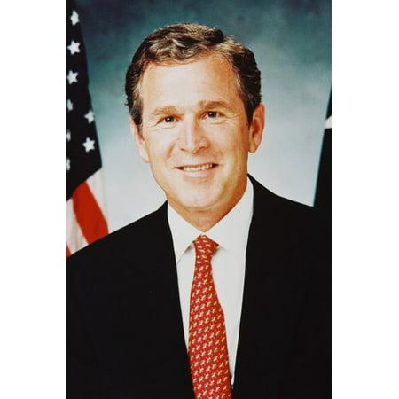 President George W. Bush Jr Color 24X36 Poster By (George Bush Usa Flag)