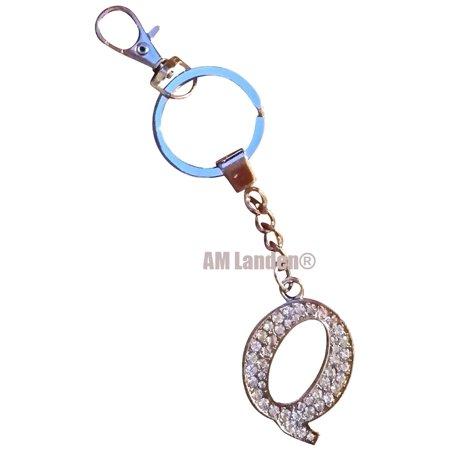 Rhinestone Bling Crystal Alphabet Letter Key Chains Keychains Handbags Charms Q