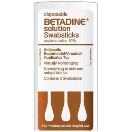 Betadine Disposable Solution Swabsticks 50 Packs, [3 ea per pack]