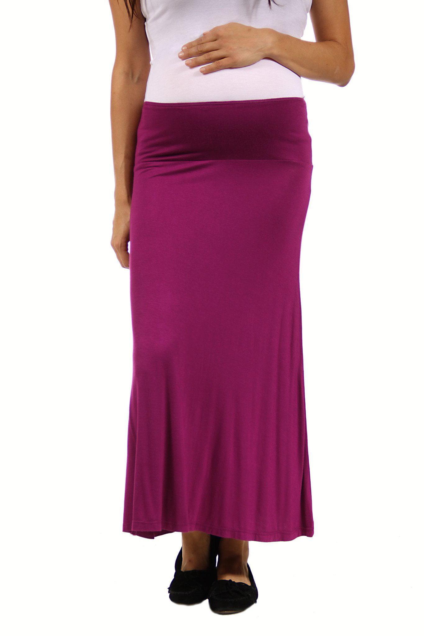 24seven Comfort Apparel Women's Maternity Comfortable Elastic Waist Maxi Skirt by