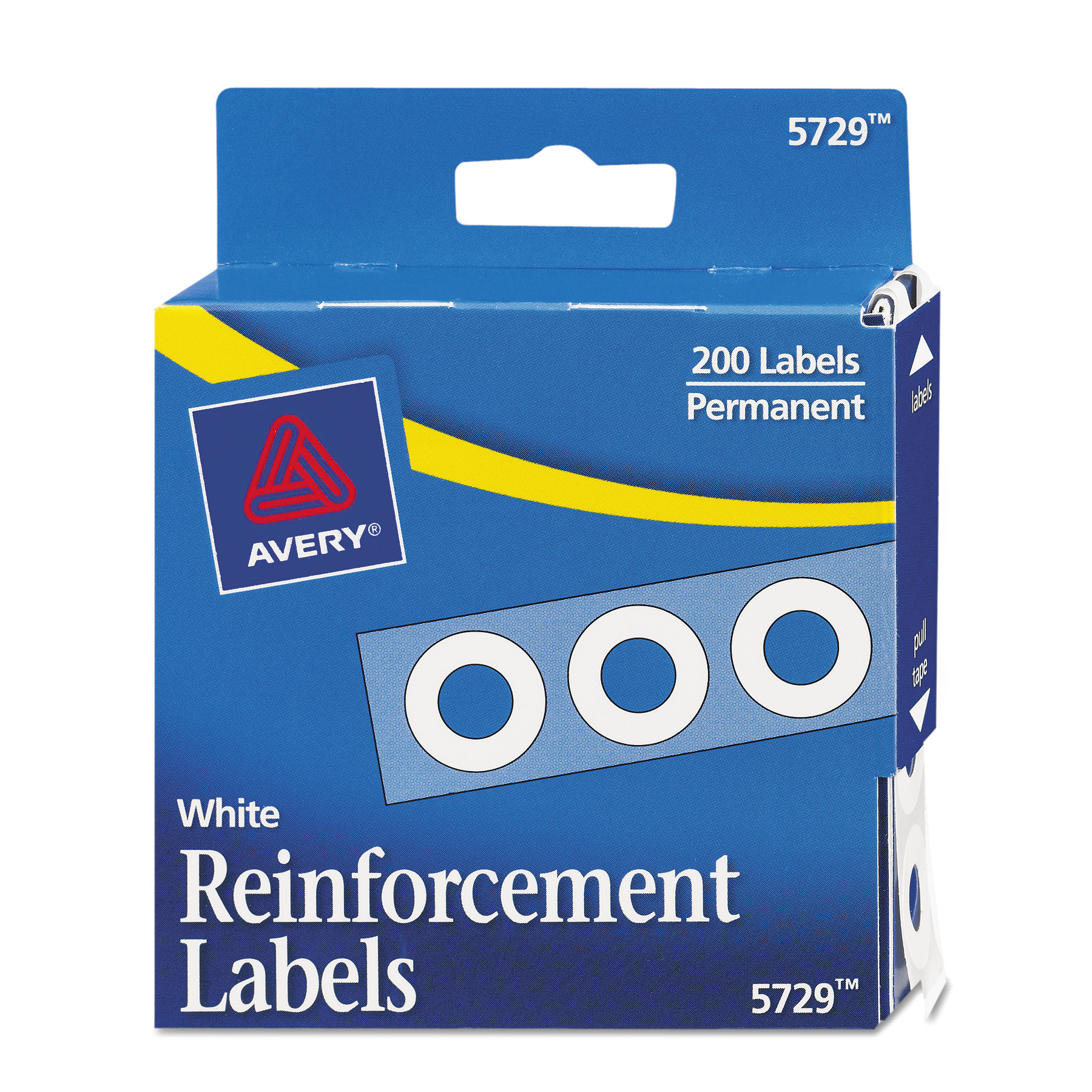"""Avery Dispenser Pack Hole Reinforcements, 1/4"""" Dia, White, 200/Pack"""