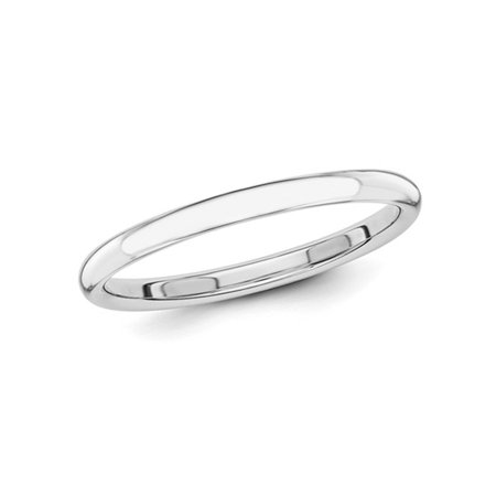 Gem And Harmony Ladies 14k White Gold 2mm Stackable Wedding Band
