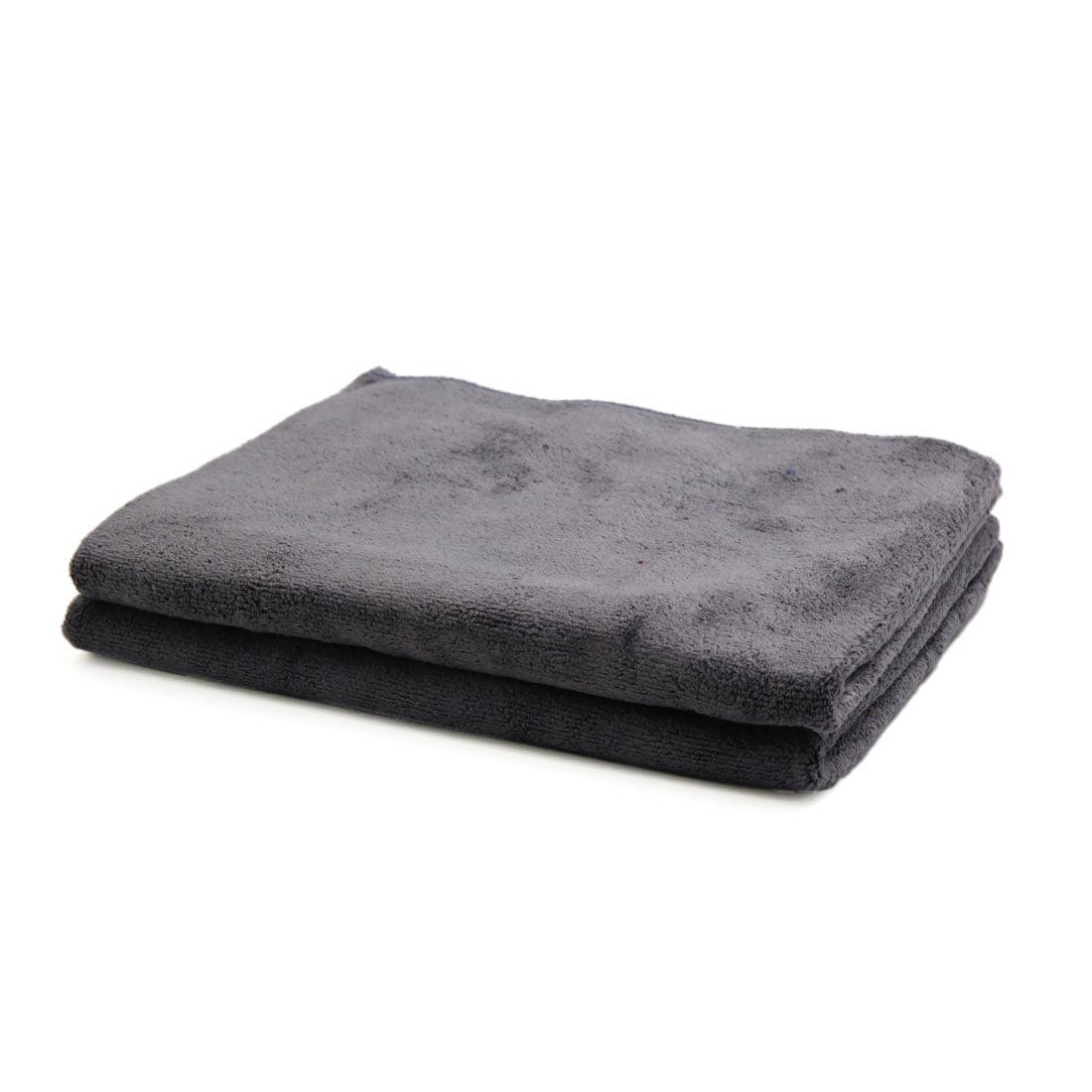2 Pcs Water Absorbent No-scratched Car Clean Cloth Towel Gray