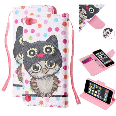 iPod Touch 6th Gen Wallet Case,Touch 5th Gen Case,Dteck Slim Fit Painted PU Leather Magnetic Flip Folio Stand Case Cover With Hand Strap (Not for iPhone 5C),Owl