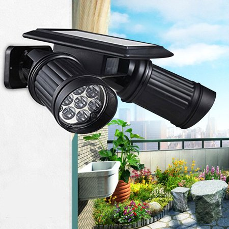 Zimtown 14 LED Solar Powered Lights PIR Motion Sensor Dual Head Spotlight Adjustable Waterproof 14 LED Wall Light for Deck Yard Garden Driveway - Auto (Best Solar Powered Motion Lights)