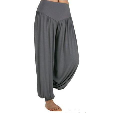SAYFUT Women's Super Soft Modal Spandex Casual Loose Baggy Harem Yoga Pilates Pants Wide Leg Elastic Waistband Hippie Trousers ()