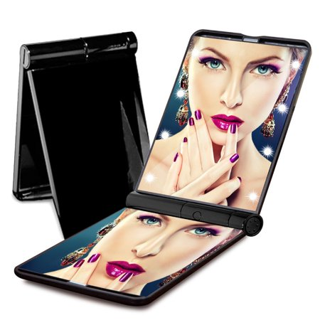 Eutuxia Lighted Makeup Vanity Mirror With Built In 8 Led Lights  Compact And Portable Travel Size  Foldable With Magnetic Bar  Illuminate Darkness And Use Cosmetic Or Check Your Hairstyle Anywhere