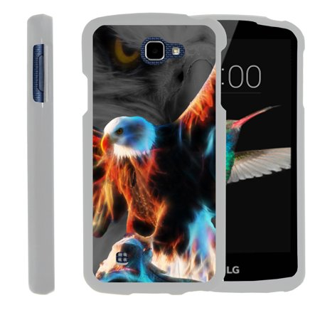 LG K4, LG Rebel, LG Spree, LG Optimus Zone 3, [SNAP SHELL][White] 2 Piece Snap On Rubberized Hard White Plastic Cell Phone Case with Exclusive Art -  Blazing Eagle