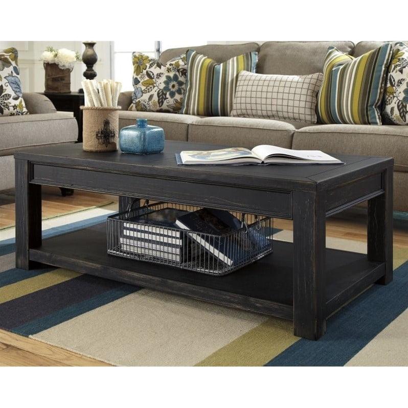 Ashley Furniture Gavelston Rectangular Coffee Table In Black