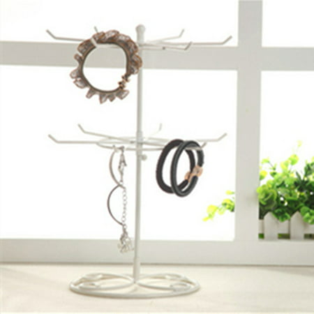 Rotating Countertop Earring Display (Double Tier Metal Rotating Jewelry Stand Earring Necklace Display Holes Holder Rack New )
