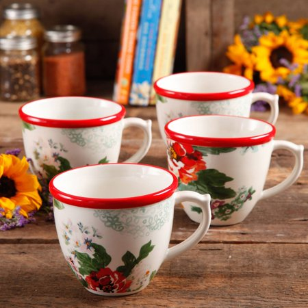 The Pioneer Woman Flea Market 17 oz Decorated Coffee Cups, Country Garden, Set of 4 (Coffee Cups Hd Design)