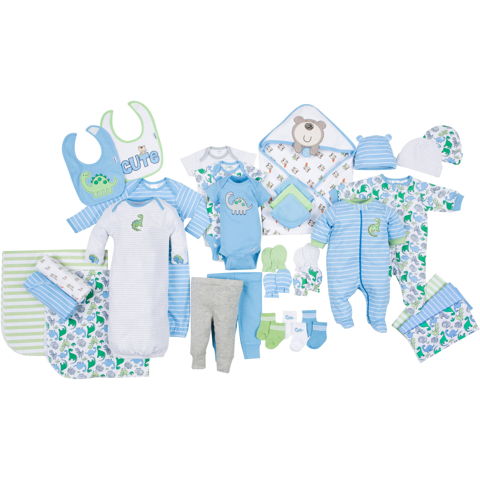Gerber Newborn Baby Boy Perfect Baby Shower Gift Layette Set, 33-Piece