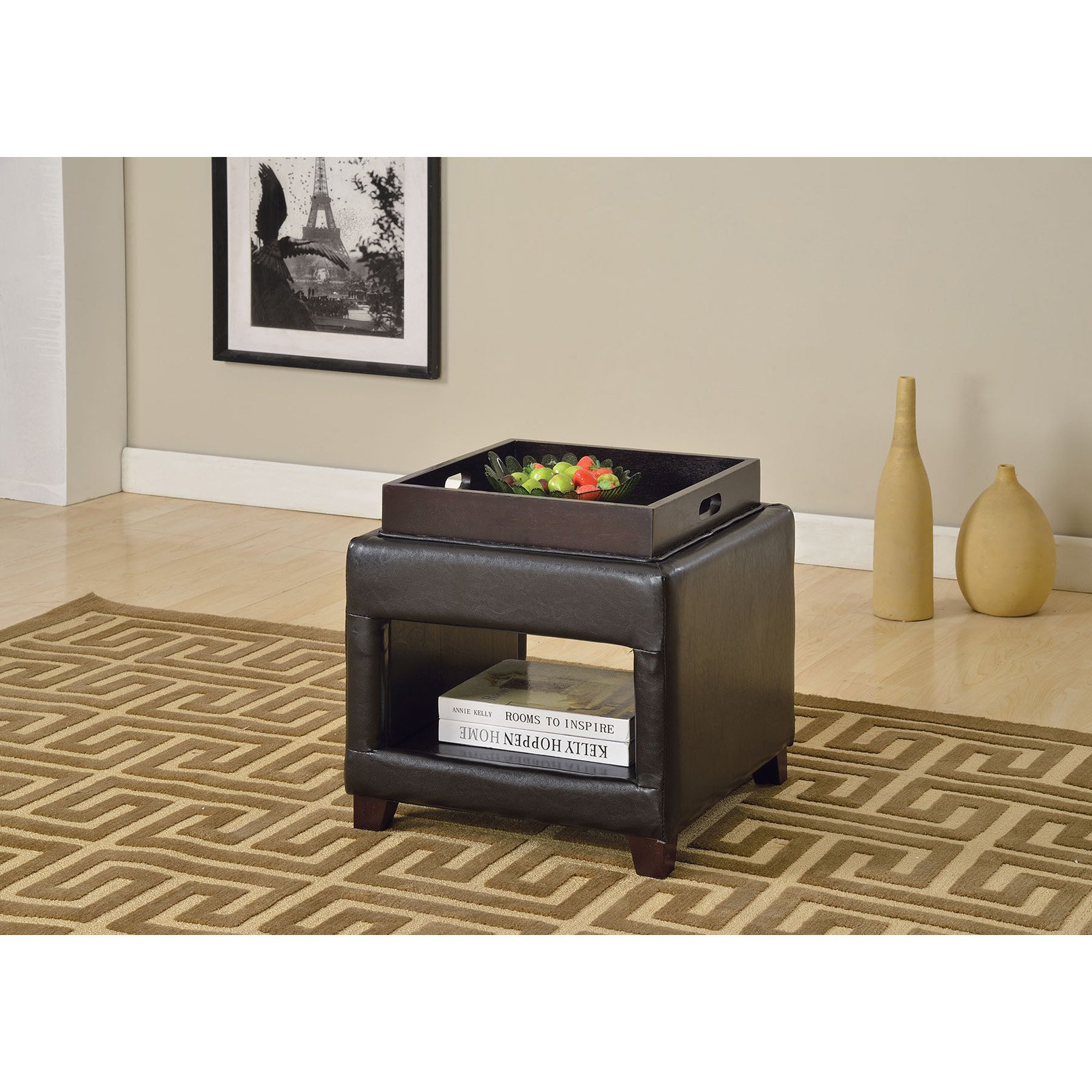 Acme Gosse Ottoman with Tray, Dark Brown Faux Leather