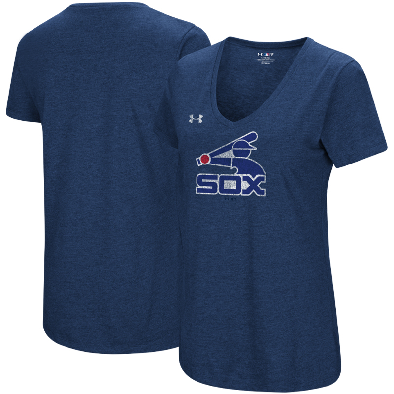 Chicago White Sox Under Armour Women's Cooperstown Collection Logo Performance Tri-Blend V-Neck T-Shirt - Heathered Navy
