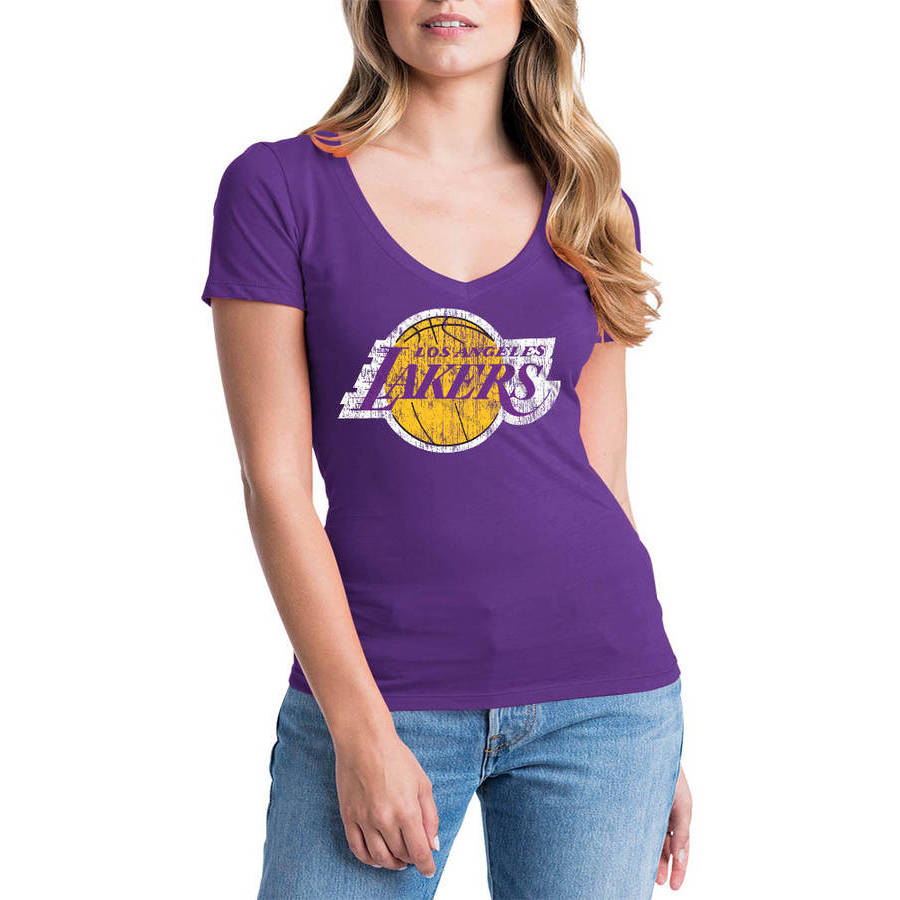 NBA Los Angeles Lakers Women's Short Sleeve V Neck Graphic Tee