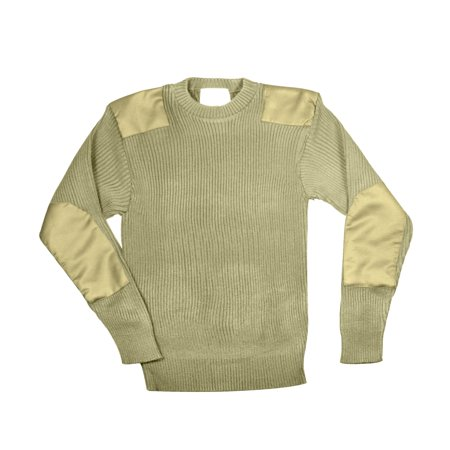 Khaki GI Style Acrylic Knit Commando Sweater, Mens Sizes ()