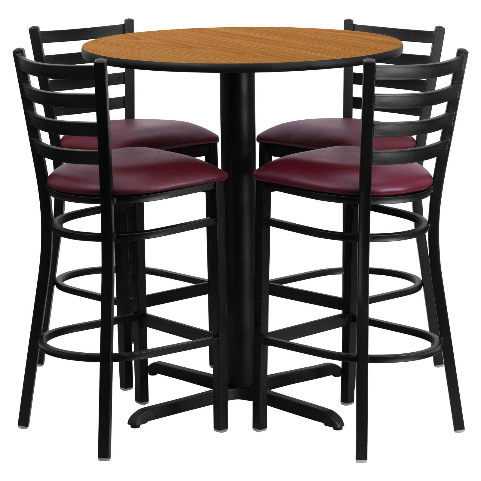 Flash Furniture 30'' Round Natural Laminate Table Set with 4 Ladder Back Metal Barstools, Burgundy Vinyl Seat Black, Burgundy, Natural