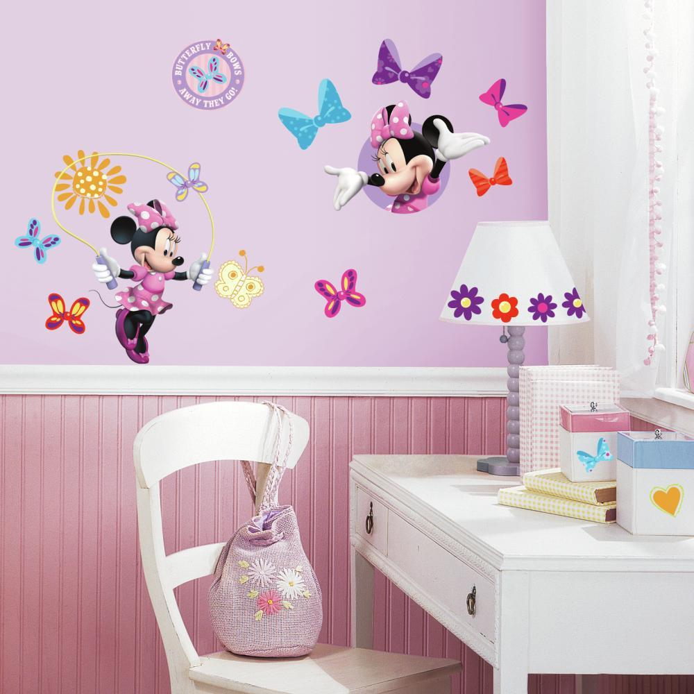 Girls room wall decal 30 pcs Minnie Mouse Bow wall decals Disney Nursery decor