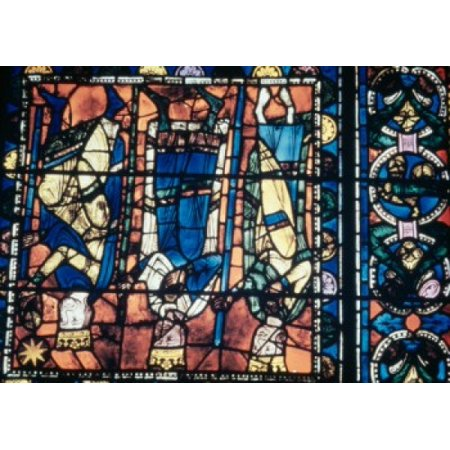 Lee French Poster - France  Centre Region  Chartres  Chartres Cathedral  Stained glass representing Adoration of the Magi Poster Print