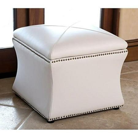 Pleasant Abbyson Living Monica Pedersen Square Leather Storage Ottoman In Ivory Creativecarmelina Interior Chair Design Creativecarmelinacom