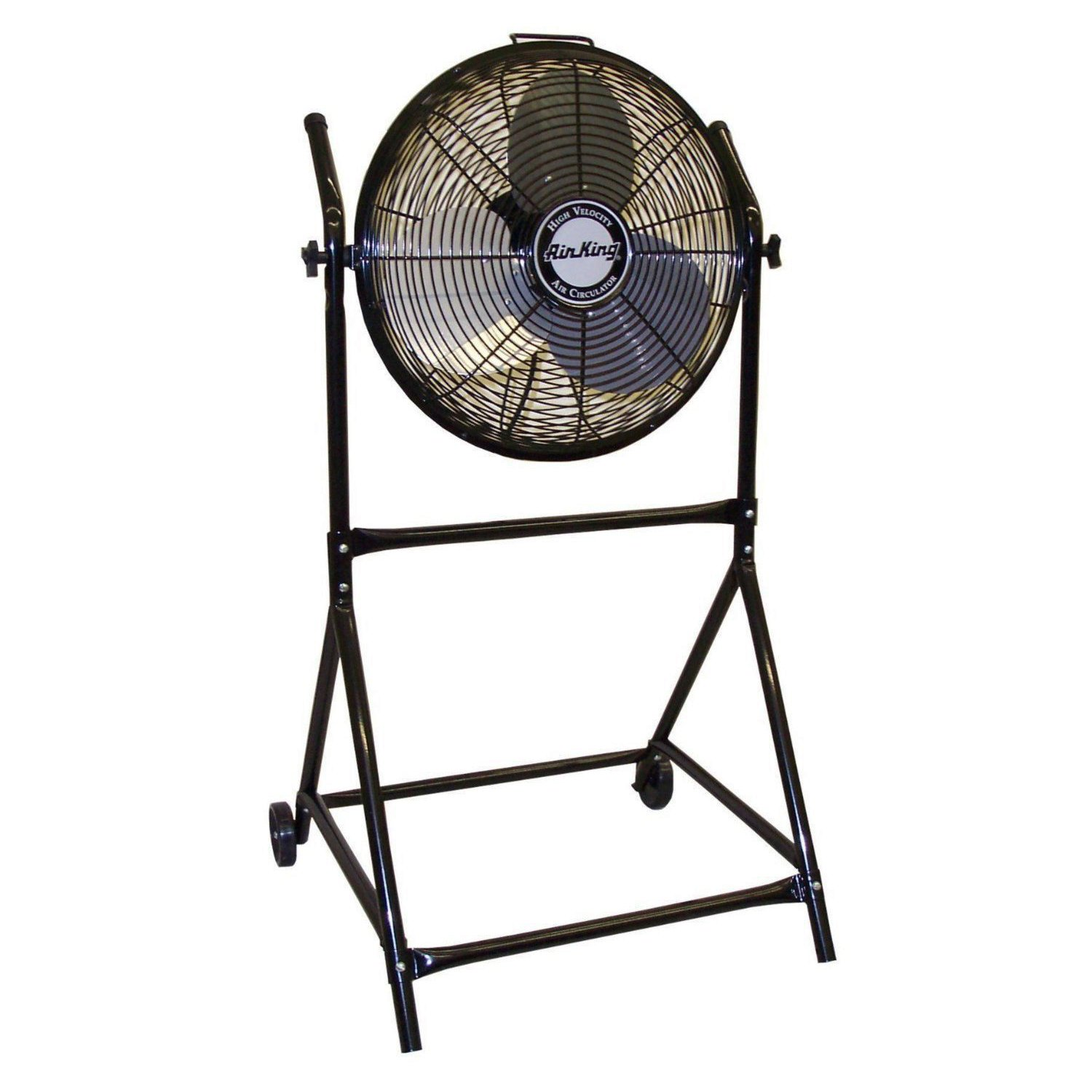 "Air King 18"" 1/6 HP 3-Speed Adjustable Height Floor Fan with Roll-About Stand"