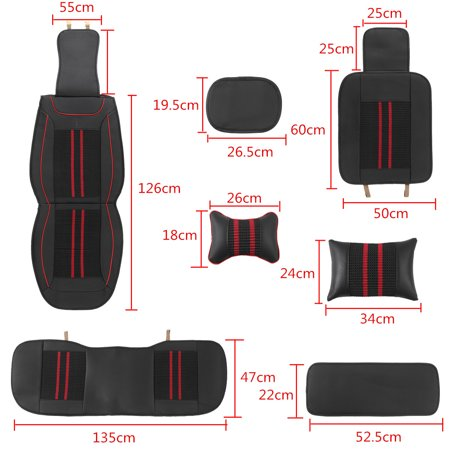 Deluxe Universal 5 Seat Car PU Leather Full Surround Cover Cushion + Pillows Set - image 5 of 12