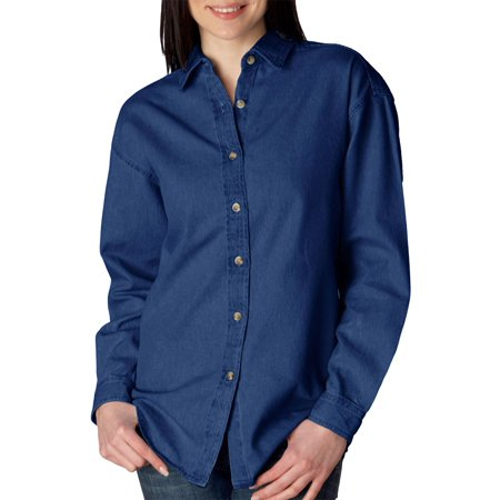 UltraClub Womens Soft Cypress Denim Double Needle Woven Shirt, Indigo, 3XL, Style, 8966