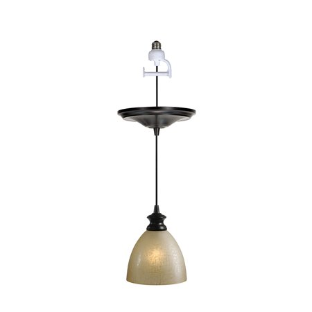 Glass Monopoint Pendant (Instant Pendant Recessed Light Conversion Kit Brushed Bronze Linen Glass Shade)