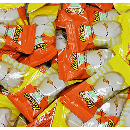 Cream Butter Eggs - Reese's Eggs Peanut Butter White Creme Easter Candy, Snack Size Candy, 1 Pound Bag