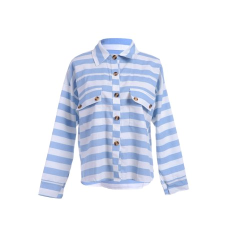 S/M Fit Blue and White Horizontal Stripe Pattern Flap Pocket - Flap Pocket Striped Suit
