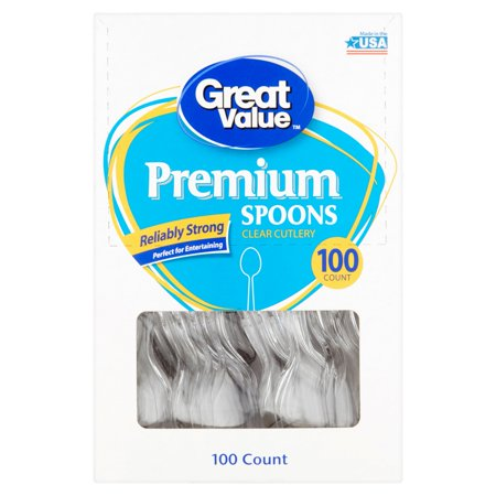 Great Value Premium Clear Spoons, 100 Count for $<!---->