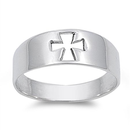 High Polish Cutout Cross Purity Ring New .925 Sterling Silver Band Size - Cross Purity Ring