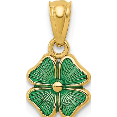 Four Leaf Clover Shamrock Charm (14k Yellow Gold Green Enameled Four Leaf Clover (10x20mm) Pendant / Charm )