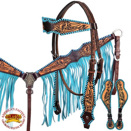 Hilason American Leather Horse Headstall Breast Collar Spur Strap Fringes