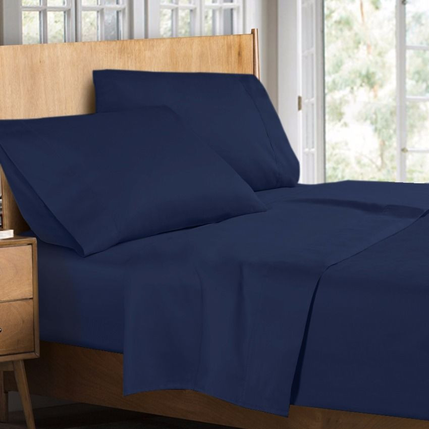 400 Thread Count 100% Egyptian Cotton 4 Piece Bed Sheet Set Queen Size, Blue