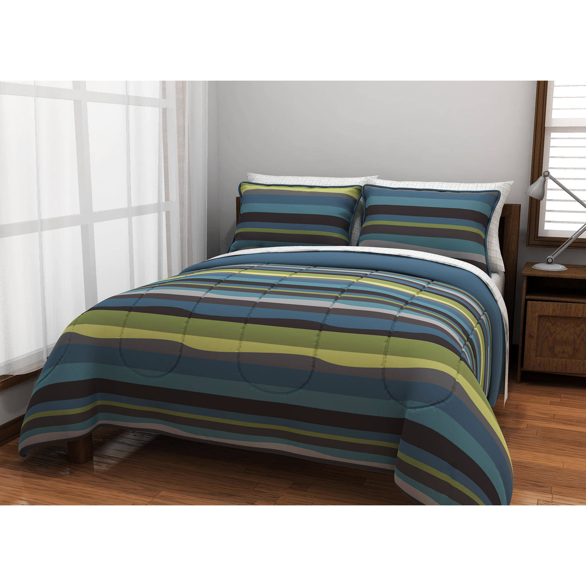 Generic American Original Blue Pacific Stripe Reversible Complete Bedding Set, Green Bed in a Bag