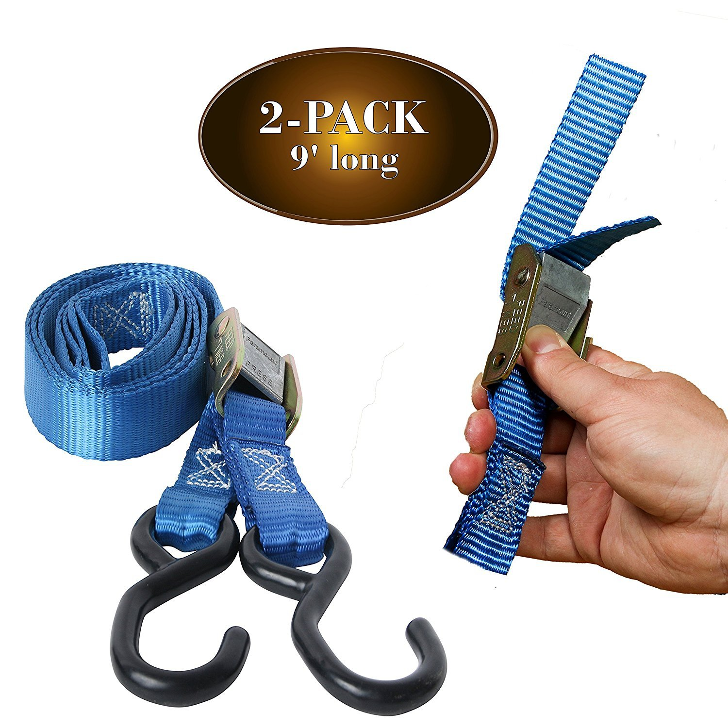 """2 Motorcycle Kayak Tie-Down Cam Straps 1"""" x 9' Strong TieDown Straps with Durable Polyester... by Dc Cargo Mall"""