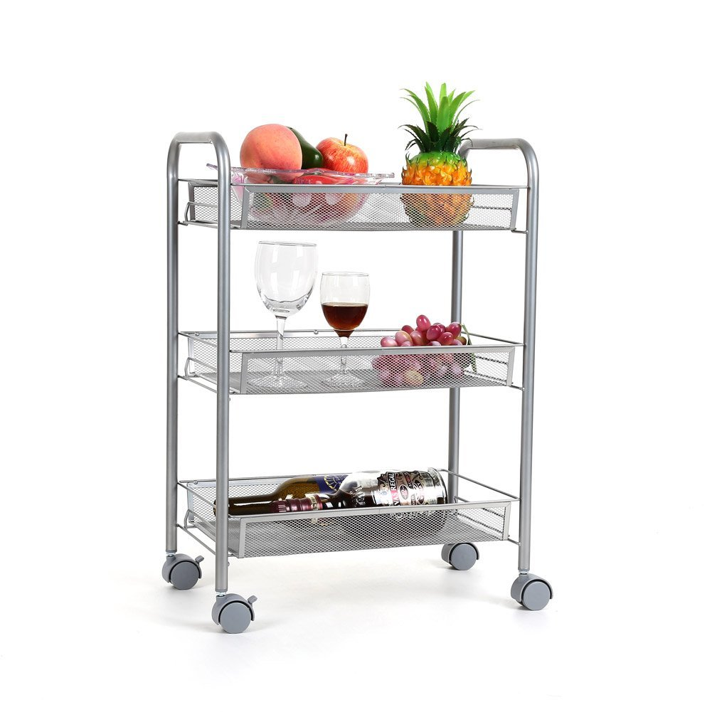 Zimtown 3-Tier Mesh Wire Rolling Cart Multifunction Utility Cart Kitchen Storage Cart on Wheels, Steel Wire Basket Shelving Trolley,Easy moving,Silver