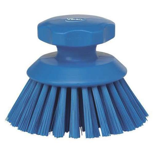 VIKAN 38853 Round Scrub Brush, Blue, 1-1/2 Trim L, PET