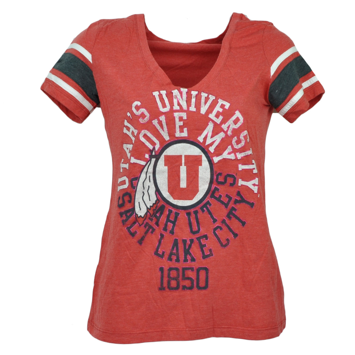 NCAA Utah Utes V Neck Striped Short Sleeve Red Tshirt Tee Womens Sports Medium