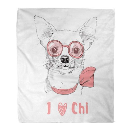 ASHLEIGH 58x80 inch Super Soft Throw Blanket Pink Adorable White Chihuahua Portrait with Glasses Artistic Beautiful Home Decorative Flannel Velvet Plush Blanket (Beautiful Decorative Glass)