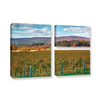 ArtWall Vineyard in Autumn by Steve Ainsworth 3 Piece Photographic Print on Gallery Wrapped Canvas Set
