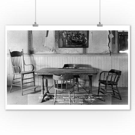 Tombstone, Arizona - Birdcage Theatre Old Faro Table Photograph (9x12 Art Print, Wall Decor Travel Poster)
