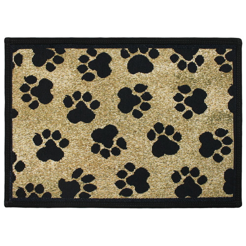 Park B Smith Ltd PB Paws & Co. Gold World Paws Tapestry Indoor/Outdoor Area Rug