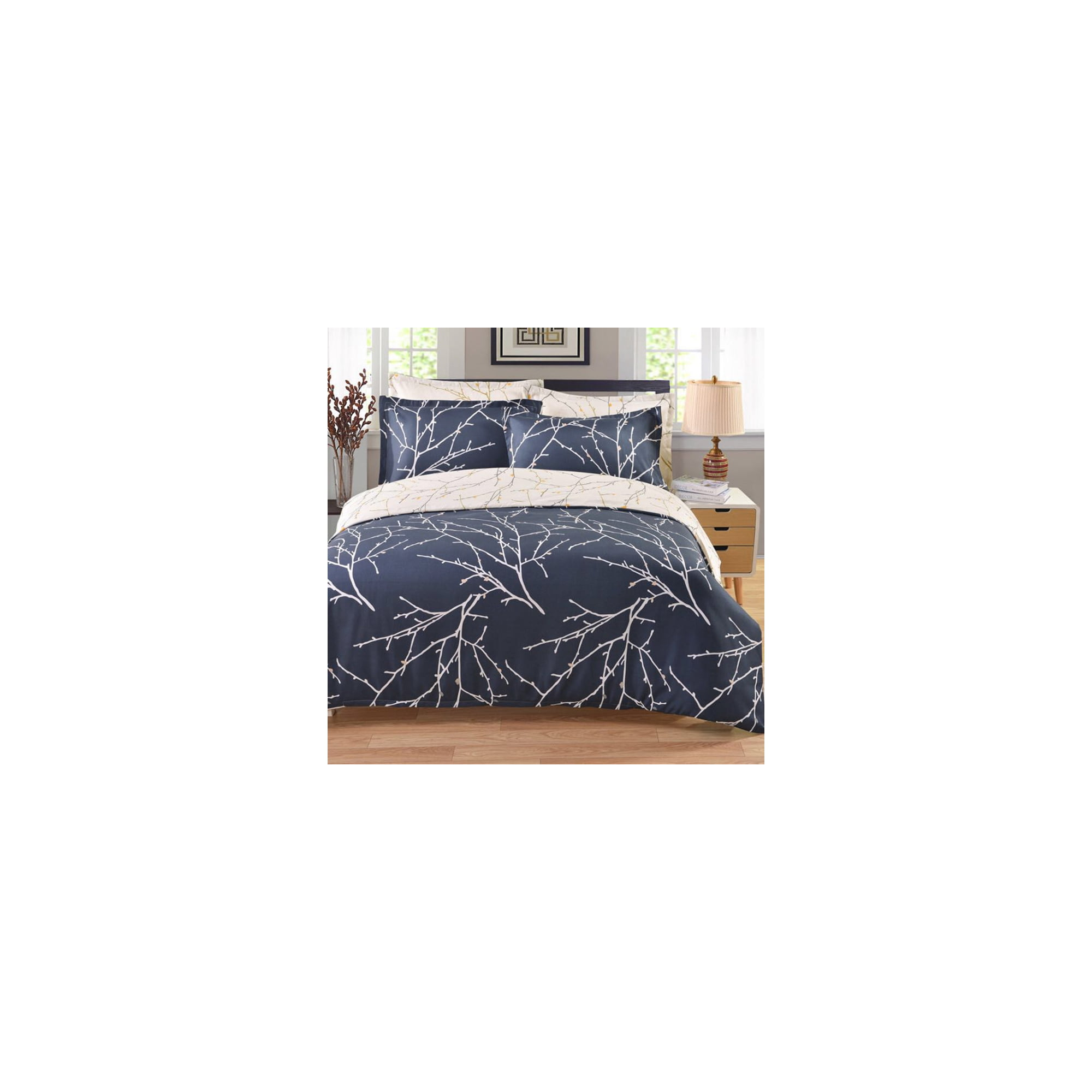 Closure Navy Blue Ivory Printed Tree Branch Pattern Reversible Bedding Duvet Cover Set Soft Microfiber Breathable Comfortable With Zipper Closure Walmart Canada