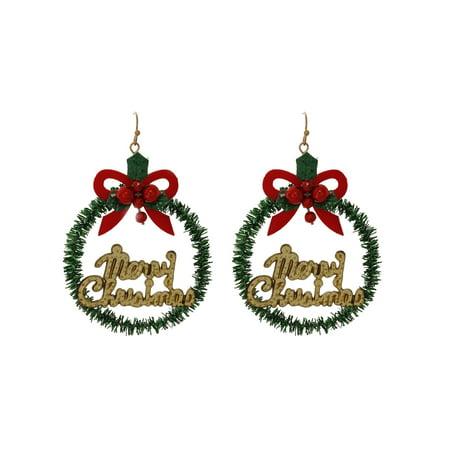 Holiday Merry Christmas Wreath Earring Walmart Com
