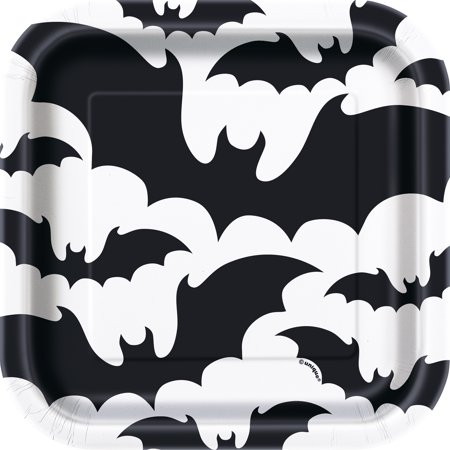 Unique Industries Square Black Bats Halloween Paper Plates, 7 In, 10 Count - Halloween Mask Out Of Paper Plates