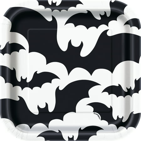 Unique Industries Square Black Bats Halloween Paper Plates, 7 In, 10 Count - Halloween Bat Pinata