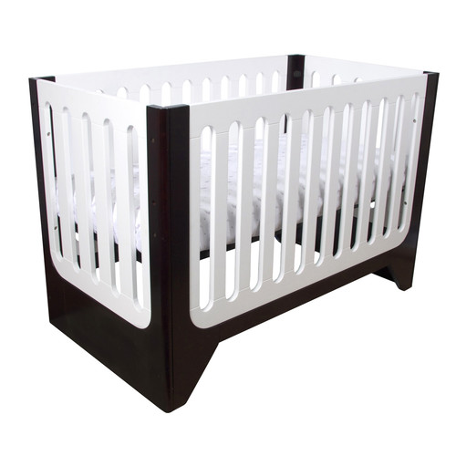 Arm's Reach Concepts Aurora Contempo 4-in-1 Fixed-Side Convertible Crib, Espresso/White